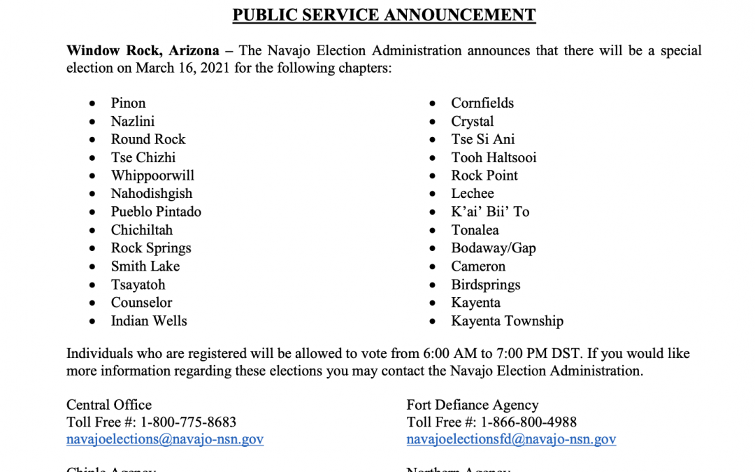 EXPIRED: Public Service Announcement: Special Chapter Elections