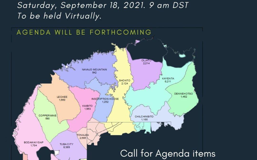 Western Navajo Agency Meeting – September 18, 2021